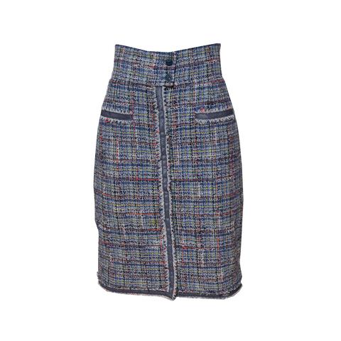 Стильная юбка с высокой талией из многоцветного твида от Chanel, 34 размер.