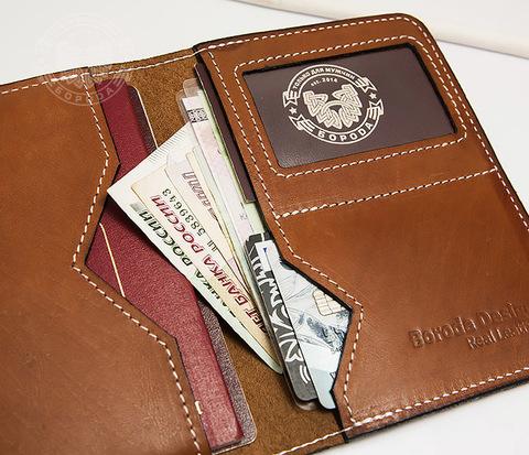 WB117-2 Мужской кошелек и обложка для паспорта с прозрачным окошком.