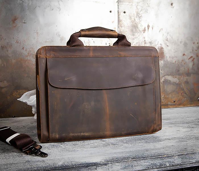 BAG458-2 Мужской портфель из толстой кожи (под А4) фото 03