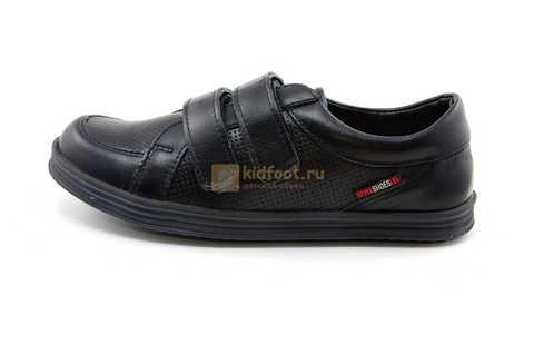 Ботинки на липучках для мальчиков Лель (LEL) из натуральной кожи цвет черный. Изображение 4 из 17.