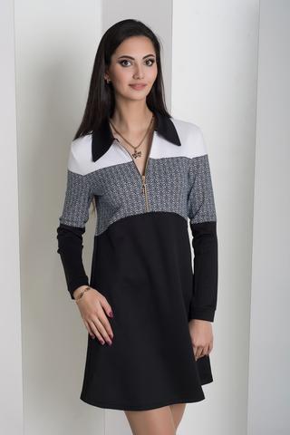 Бренда. Комбинированное молодежное платье. Дизайн ромбик