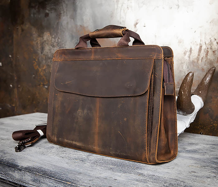 BAG458-2 Мужской портфель из толстой кожи (под А4) фото 04