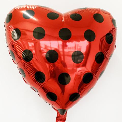 Фольгированное сердце Красное черный горошек