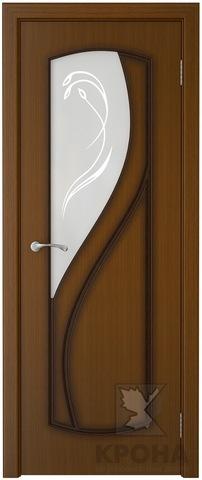 Дверь Крона Венера, стекло матовое с рисунком, цвет орех, остекленная