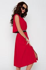 Шикарное платье в стиле casual. Талия и горловина на резинке. По переду замок. Функциональные карманы. Длина: 44-50р - 110см.