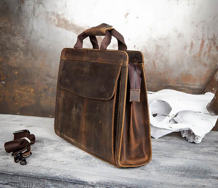 BAG458-2 Мужской портфель из толстой кожи (под А4) фото 05