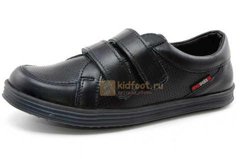 Ботинки на липучках для мальчиков Лель (LEL) из натуральной кожи цвет черный. Изображение 1 из 17.