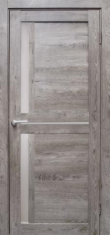 Дверь Эколайт Дорс Медиана, стекло белое матовое, цвет дуб дымчатый, остекленная