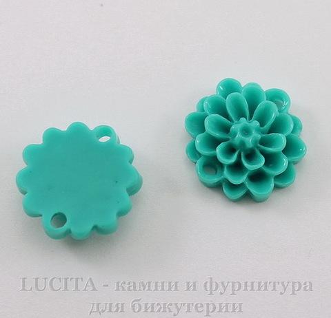 """Кабошон-коннектор акриловый """"Цветок"""" (1-1), цвет - морская волна, 14 мм"""