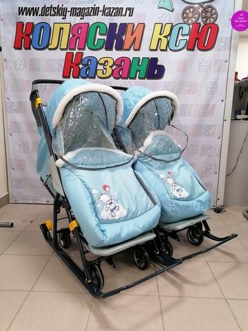Санки-коляска для двойни NIKA KIDS Наши детки 2 (синий)
