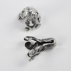 Винтажный декоративный элемент - шапочка - конус 14х9 мм (оксид серебра)