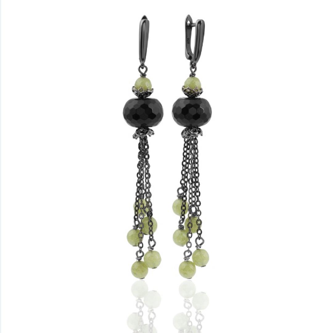 """Купить со скидкой Серьги """"Olive"""" длинные из черного агата с подвесками из агата цвета оливы, покрытие черненый родий"""