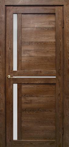 Дверь Эколайт Дорс Медиана, стекло белое матовое, цвет дуб шоколадный, остекленная