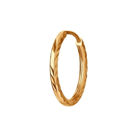 Одиночная серьга-конго из золота 585 пробы с алмазными гранями  арт.170002