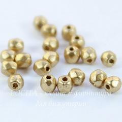 Бусина 2Tiny Шарик с огранкой, 2 мм, золотая матовая