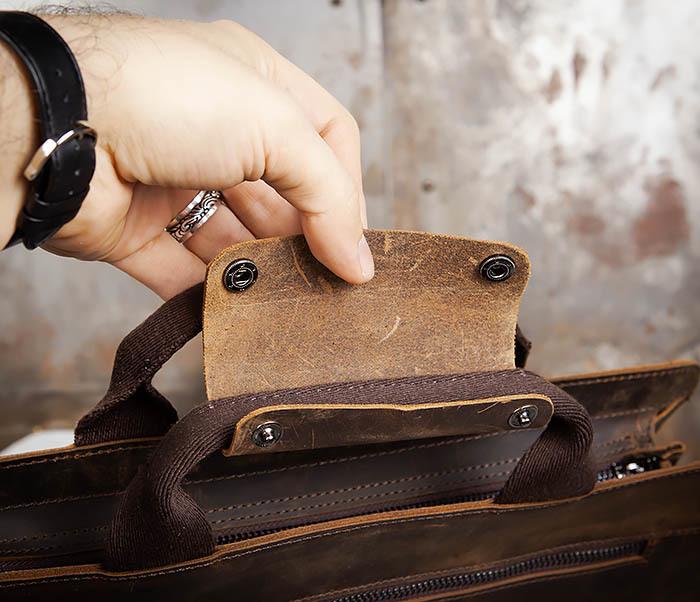 BAG458-2 Мужской портфель из толстой кожи (под А4) фото 09