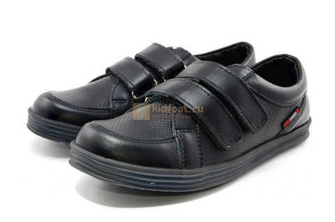 Ботинки на липучках для мальчиков Лель (LEL) из натуральной кожи цвет черный. Изображение 7 из 17.
