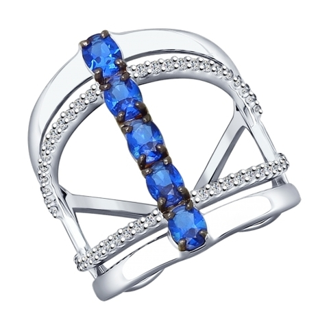 Кольцо из серебра с синими фианитами арт.94012144