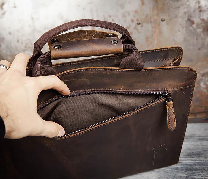 BAG458-2 Мужской портфель из толстой кожи (под А4) фото 10
