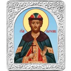 Святой Святослав. Маленькая икона в серебряной раме.