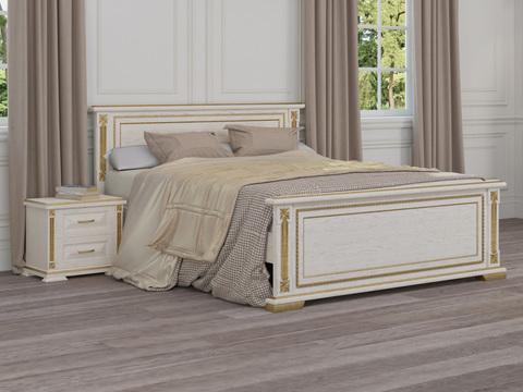 Кровать Берта Дуб белая эмаль/золотая патина