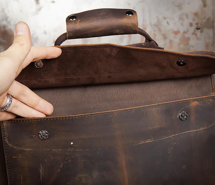 BAG458-2 Мужской портфель из толстой кожи (под А4) фото 11