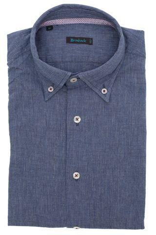 Синяя (возможно, серая) рубашка с воротником на пуговицах