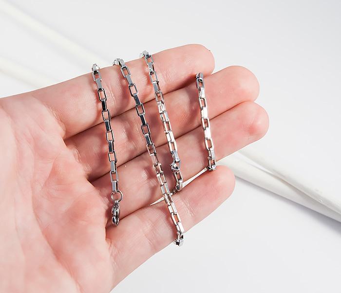 SSNH-0198-3Мужская цепочка из стали с прямоугольными звеньями, «Spikes» (55 см) фото 04