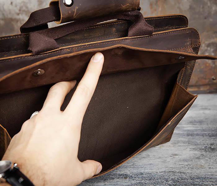 BAG458-2 Мужской портфель из толстой кожи (под А4) фото 12