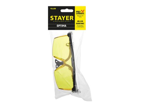 STAYER OPTIMA Желтые, очки защитные открытого типа, регулируемые по длине дужки.