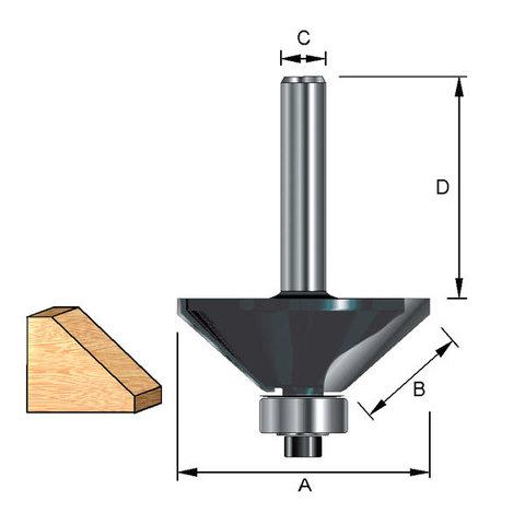 Фреза кромочная конусная с опорным подшипником  28*32*13,58/8 мм; 45°
