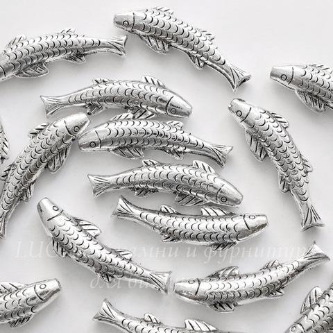 "Разделитель - трубочка ""Рыба"" 37х11х6 мм (цвет - античное серебро)"