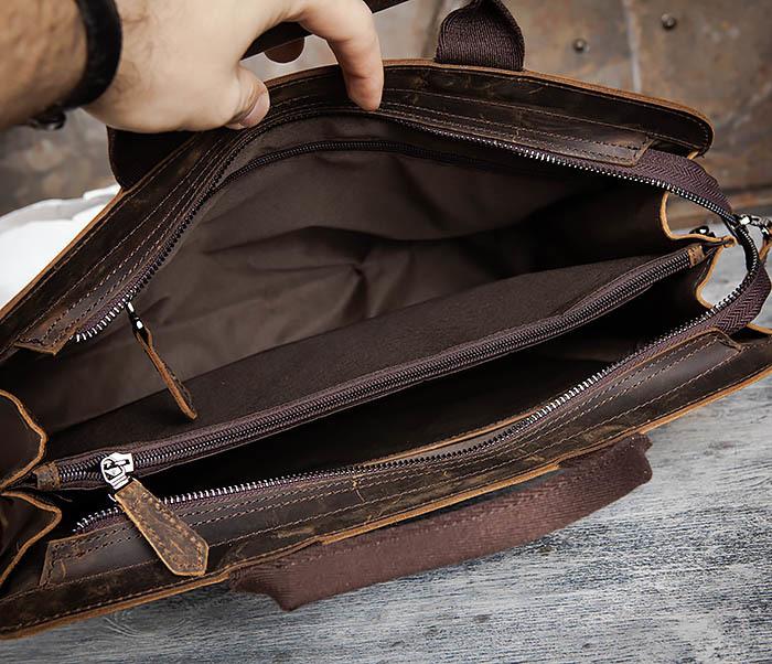 BAG458-2 Мужской портфель из толстой кожи (под А4) фото 13