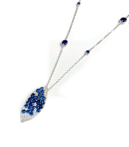 Колье из серебра с подвеской c синими цирконами GIARDINI