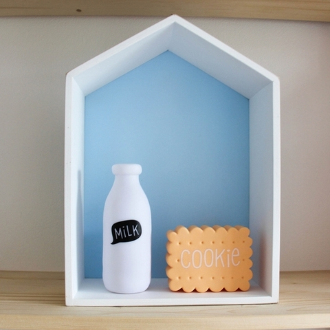 Полочка-домик для книг и игрушек (голубая) 2