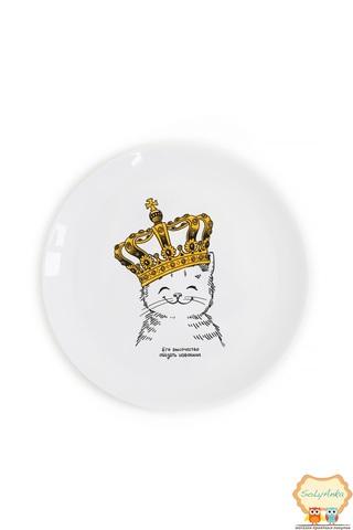"""Детская тарелка """"Котёнок в короне"""""""