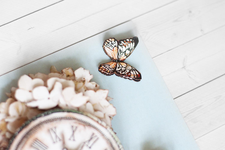 Папертоль Нежная серия: бабочка и часы - готовая работа, детали