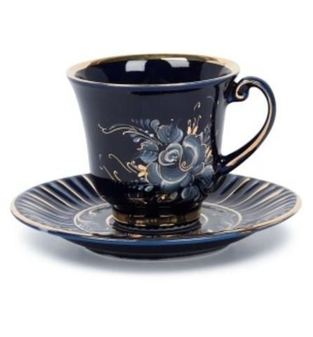 Чайная пара Ромашка (глухой кобальт, краски, золото)