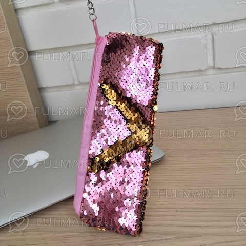 Пенал с пайетками мини для девочек меняет цвет Розово-Золотистый