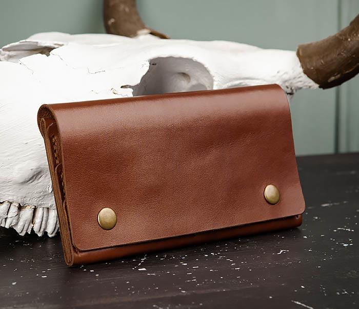WB185-2 Тонкий клатч из коричневой натуральной кожи фото 03