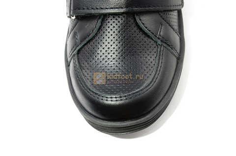 Ботинки на липучках для мальчиков Лель (LEL) из натуральной кожи цвет черный. Изображение 13 из 17.