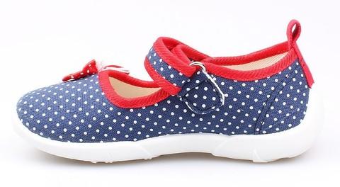 Детские текстильные туфли Котофей 431042-14, для девочки, сине-красные. Изображение 3 из 3.