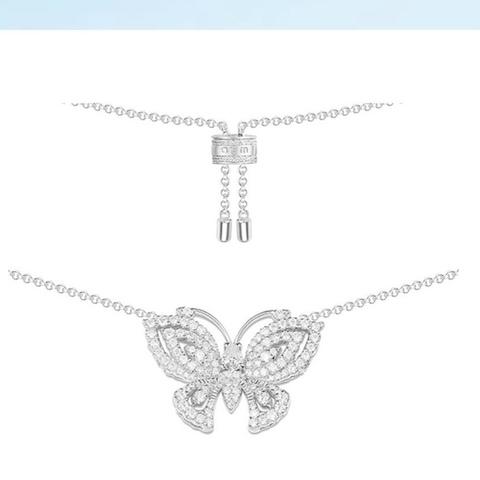 Колье из серебра с бабочкой  в стиле APM MONACO