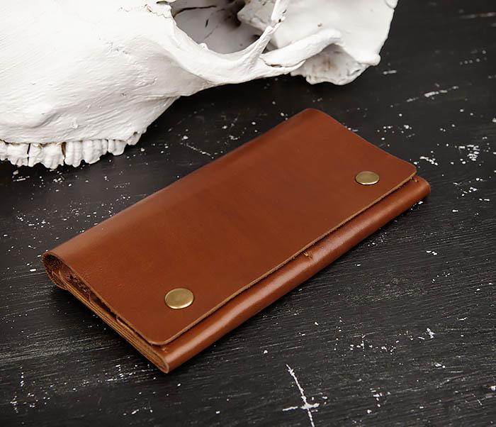 WB185-2 Тонкий клатч из коричневой натуральной кожи фото 04