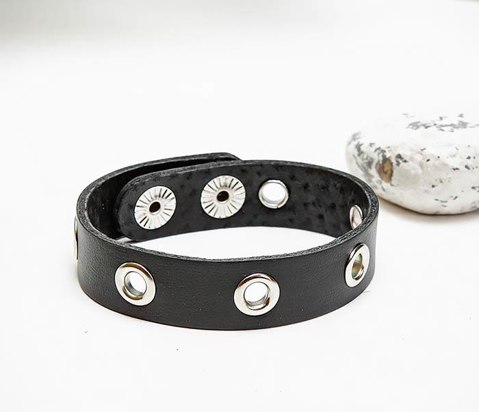 BL797-1 Мужской браслет полоска из черной кожи фото 04