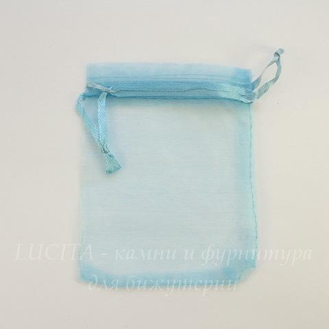 Подарочный мешочек из органзы, цвет - голубой, 9х8 см