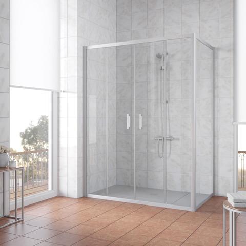 Душевой уголок Vegas Glass Z2P+ZPV профиль матовый хром, стекло прозрачное