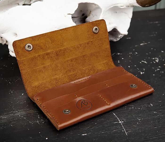 WB185-2 Тонкий клатч из коричневой натуральной кожи фото 06