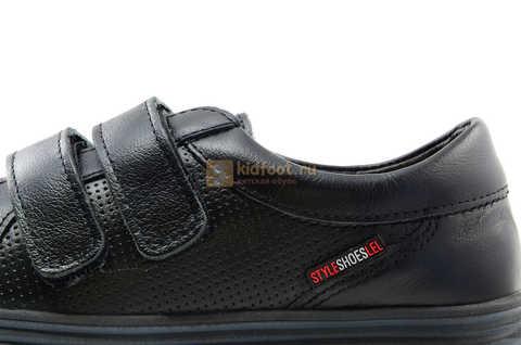Ботинки на липучках для мальчиков Лель (LEL) из натуральной кожи цвет черный. Изображение 15 из 17.