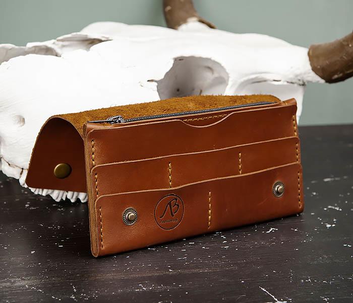 WB185-2 Тонкий клатч из коричневой натуральной кожи фото 07